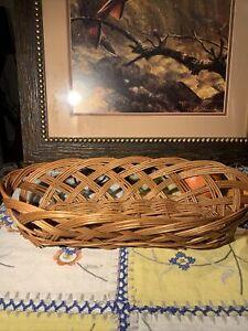 """Vintage Wicker French/Italian Baguette Bread Basket 15""""~Yugoslavia"""