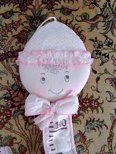 Très jolie toise murale enfant coton excellent état comme neuve rose 1m40