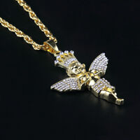 "1X Gold Plated Crystal Pave Baby Angel Pendant Unisex Hip Hop Necklace 27"" Chain"