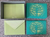Papyrus ~ Boxed Set of (10) LASER CUT notecards TREE with Birds Green NIB