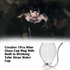 Creative 1Pcs Wine Glass Cup Mug With Built in Drinking Tube Straw Water kM