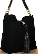River Island Boho/Hobo Black Tassel Bucket Shoulder Bag/Tote/Purse