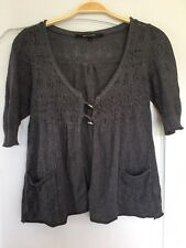 River Island 3/4 Sleeve Grey Knitted Open Top Size 10
