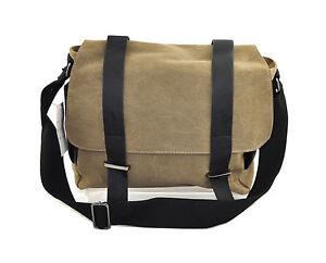 "Khaki Messenger Bag Canvas Macbook Laptop 13"" iPad Multi Function Satchel Case"