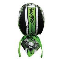 Neon Green Pinstripe Skull Doo Rag Head Wrap Cap Biker Durag Sweatband Capsmith
