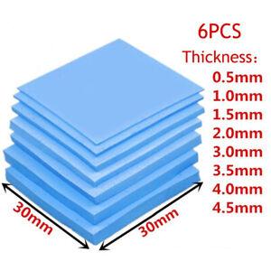 6PCS Thermal Conductive Silicone 30X30mm 0.5-5mm GPU CPU Heatsink Cooling Pad