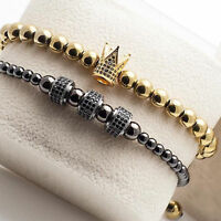 Luxury Handmade Fashion Gold Plated Micro Pave CZ Crown Macrame Bracelets 4mm