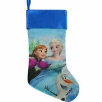 "Disney 20"" Silky Satin Fully Printed Christmas Stocking (Frozen) Blue"
