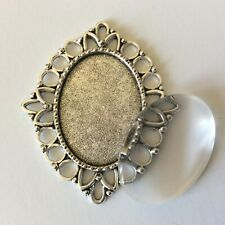 Silver Oval Cabochon Setting 18x25 with glass cabochon DIY photo pendant charms