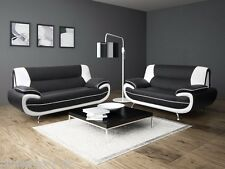 LEATHER  SOFA SUITE 3+2 BLACK AND WHITE