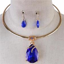 """15"""" blue 1.50"""" teardrop crystal pendant choker bib necklace .50"""" earrings"""