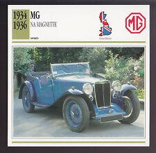1934 1935 1936 MG NA Magnette M.G. British Car Photo Spec Sheet Info ATLAS CARD