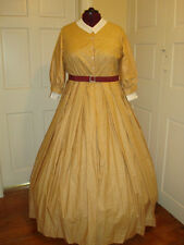 Civil War Reenactment Day Dress Size 22 Three Quarter Length Slv Mustard w/red