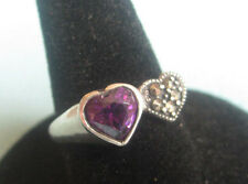 MICHAEL ANTHONY ALEXANDRITE MARCASITE HEART STERLING SILVER RING 6 3/4 Valentine