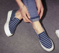 Chic Women's Canvas Platform Flats Slip On Sneakers Stripes Wedge Casual Shoes