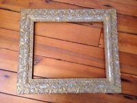 Antique Vtg Gold Gilt Ornate Gesso Carved Frame Rococo Victorian Wooden 27x23
