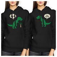 Hug Me T-rex BFF Hoodies Cute Matching Friendship Hooded Sweatshirt