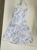 Vintage 80 90s Wear or When Spaghetti Strap Sun Dress Womens L Blue White Floral
