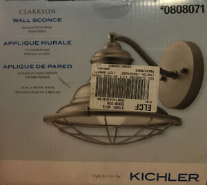 "Kichler Clarkson 10"" Brushed nickel Arm Wall Sconce Rustic Industrial 808071"