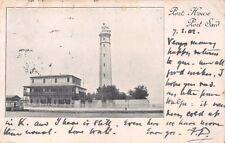 Port Said Egypt Port House Light House Postcard 1902