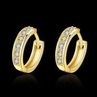 White Crystal Small Hoop Earrings 18K GP Yellow Gold Filled earings
