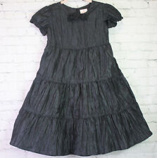 HANNA ANDERSSON size 130 8 Tulle Short Sleeve Ruffle Tiered Black Rosette DRESS