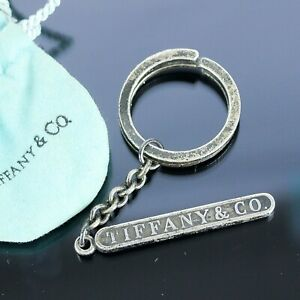 TIFFANY & CO. Logo Bar Bag Charm Key Ring Sterling Silver 925