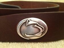 "Penn State Lions Brown Leather Belt Size 36"" Adjustable ISC"