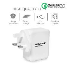 Sumvision Qualcomm 2.0 Quick Charger 2 USB Port 5V 2.4A Mains Wall Socket Travel
