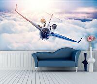 3D Sunshine Plane R52 Transport Wallpaper Mural Sefl-adhesive Removable Zoe