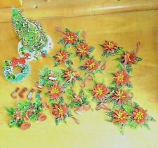 Lot of Christmas Dollhouse Miniatures Trees Wreaths From 1960's Hand Made