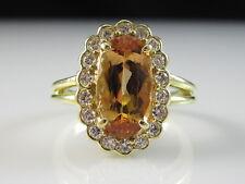 18K Imperial Topaz Diamond Ring Yellow Gold Fine Jewelry G/VS Estate Oval Size 8
