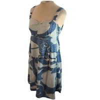 Tori Richard Knit Bird Print Mini Tank Dress Blue Size 10 Has Flaws