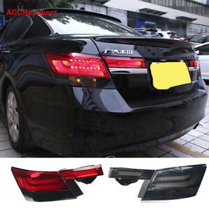 4Pcs For Honda Accord Tail Lights Assembly 2008-2012 Black / Red LED Rear Lamps