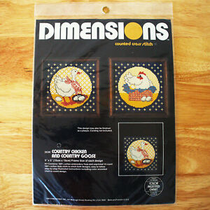 Vintage DIMENSIONS Cross Stitch kit Country Chicken & Country goose 3534 + GIFT