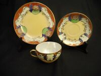 VINTAGE TEA CUP SAUCER DESERT PLATE HAND PAINTED GOLD TRIM CHINA MADE IN JAPAN