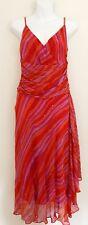 Vtg Papell Boutique Evening Women 100% Silk Dress Sz 10 Pink Red Sleeveless