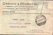 CARTOLINA PUBBLICITARIA OGGIONI ROMEO FABBRICA LETTI MILANO 1927  C5-659
