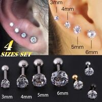 4pcs Tragus Cartilage Piercing Earring Crystal Stud Ear Lip Ring Titanium Steel