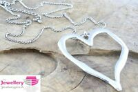 Seconds Large abstract metal heart pendant and long curb chain necklace silver