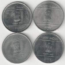 4 DIFFERENT 1 RUPEE COINS from INDIA (ALL 2009 with MINT MARKS of B/C/H/N)