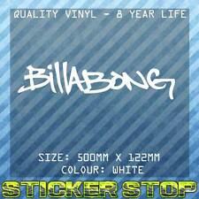 BILLABONG GRAFFITI VINYL DECAL/STICKER (50cm, White)  WINDOW, SURFING, SURF, CAR