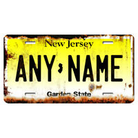 US Metal License Plate - New Jersey Rusted, Personalise your own plate