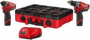 PACKOUT Milwaukee 2598-22PO M12 FUEL 2-Tool Hammer Drill Impact Driver Kit - NEW