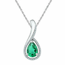 Sterling Silver Womens Pear Lab-Created Emerald Teardrop Pendant 2.00 Cttw