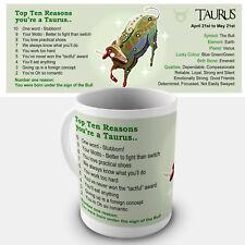 Taurus Zodiac Gift Mug - Showing key characteristics of the star sign