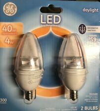 GE 40W LED Candelabra Base Bulbs Daylight  Dimmable - Pack of 2