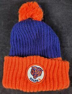 Chicago Bears NFL Pom Knit Winter Hat Beanie Blue Orange