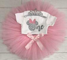 Luxury Baby Girls Cake Smash Outfit 1st Birthday Vest Set Tutu Skirt Minnie Pink