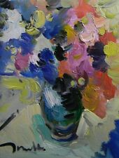 JOSE TRUJILLO ORIGINAL Oil Painting Modern Impressionist Flowers Floral Vase COA